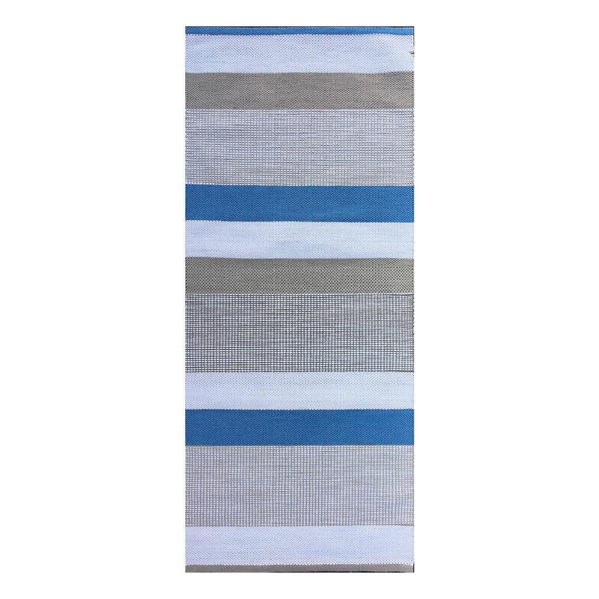 Teppich Laaka blau-beige-hellbeige