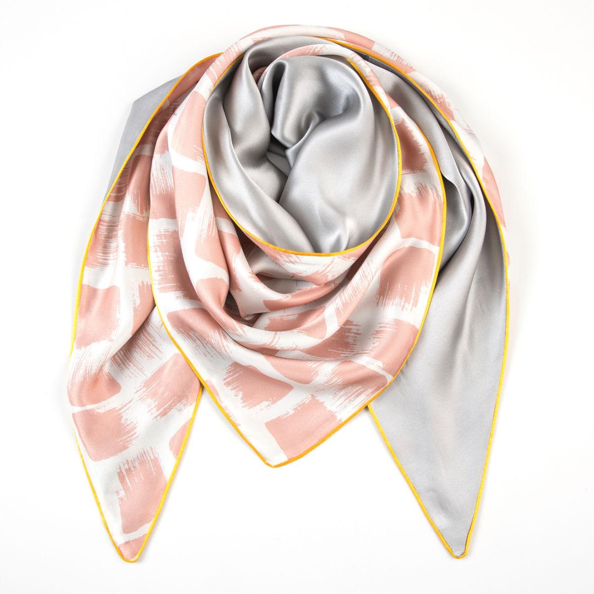 Dreieckschal Moitié-Carré Rosé/Gris