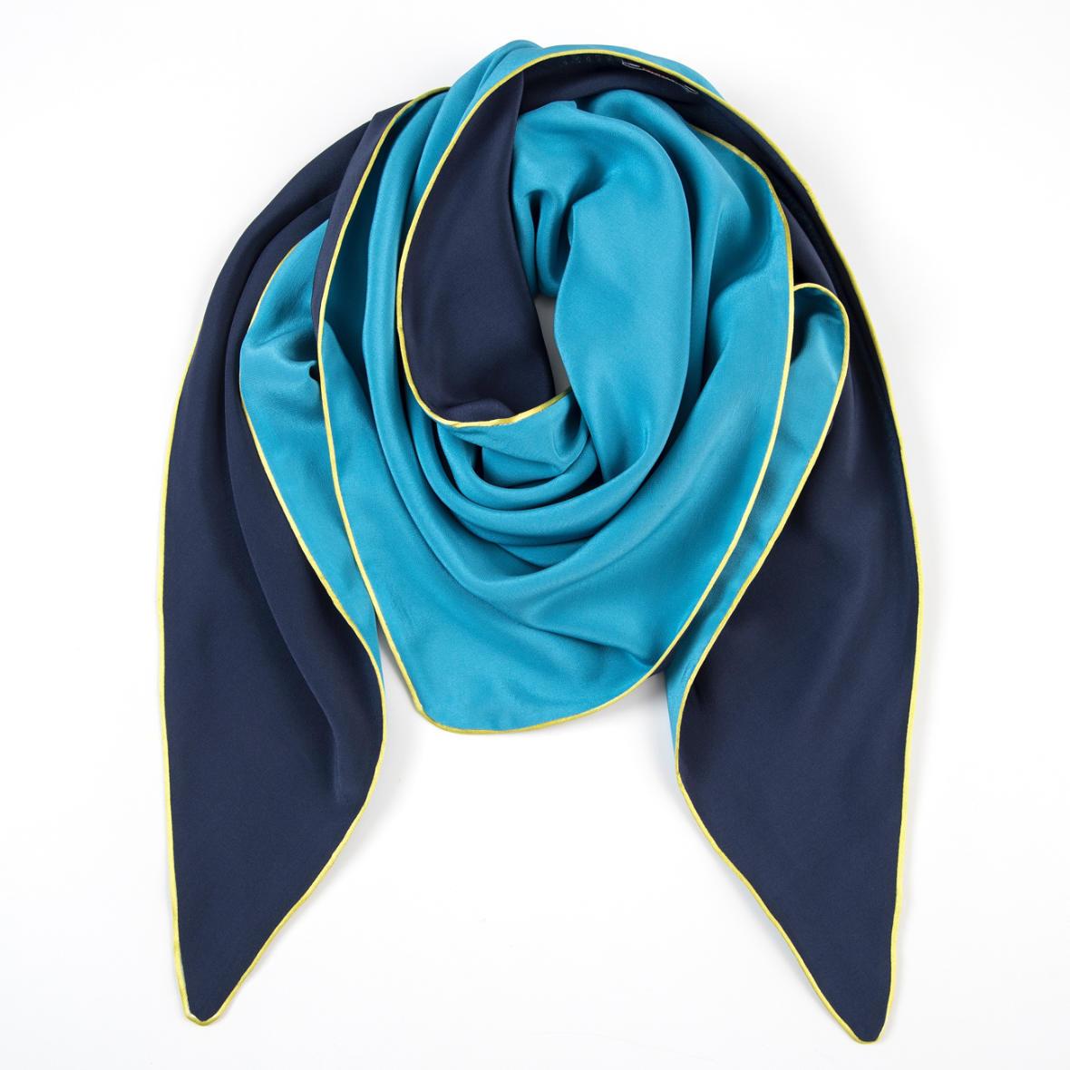 Dreieckschal Moitié-Carré Blau/Türkis