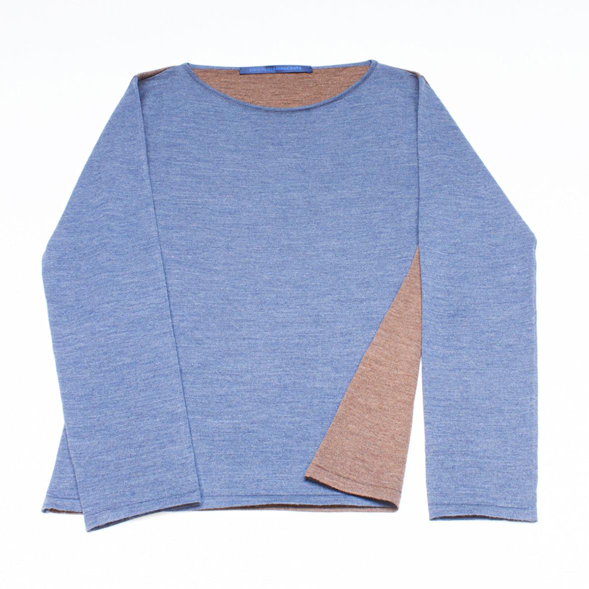 Strickpullover blau/marron aus Merinowolle