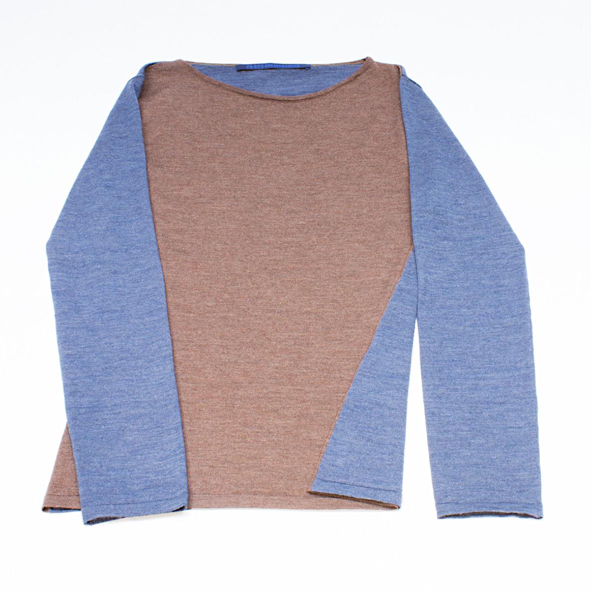 Strickpullover marron/blau aus Merinowolle