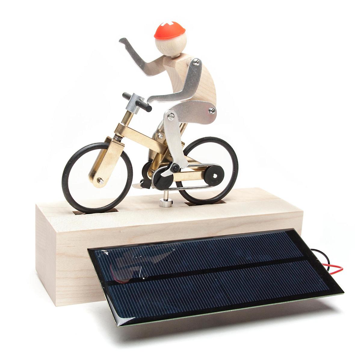 Solar-Holzspielzeug-Bausatz Velofahrer Tomi Pedaleur
