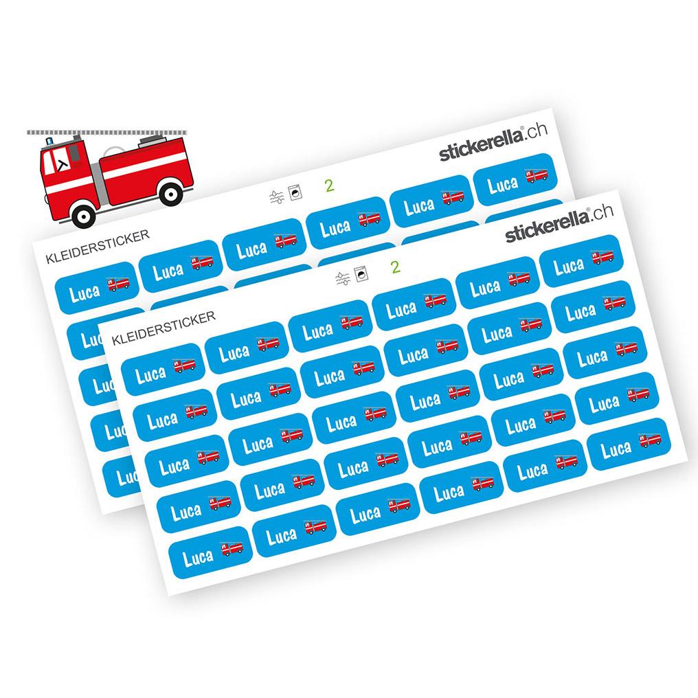 Namenssticker Feuerwehrauto für Kleider