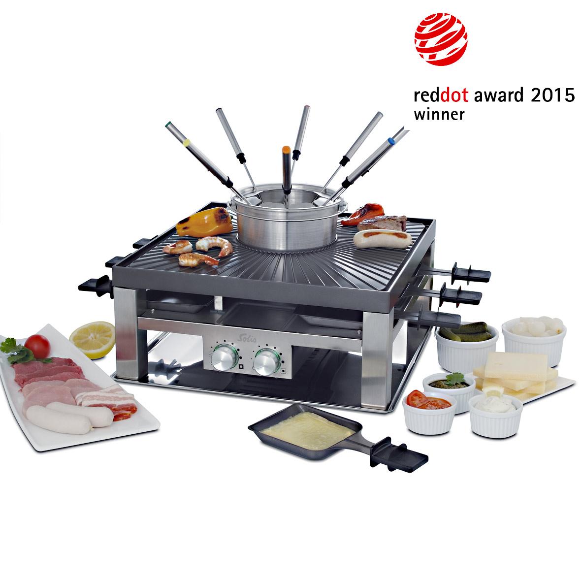 Solis Combi-Grill 3 in 1 für Raclette, Tischgrill und Fleischfondue